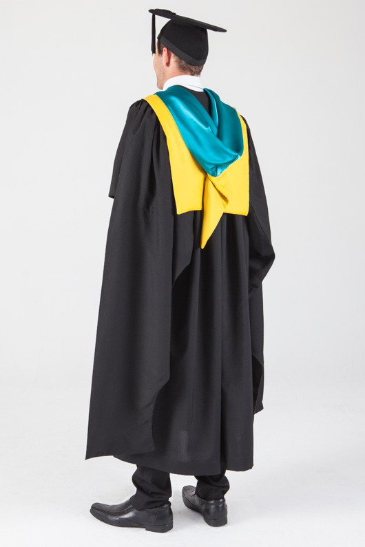 Macquarie University Masters Graduation Gown Set - Human Sciences - Back angle view