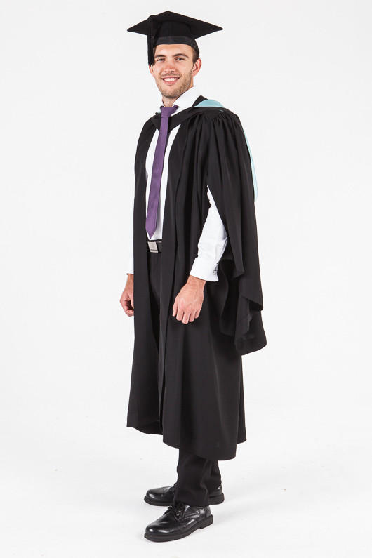 UON Bachelor Graduation Gown Set - Commerce and Economics - Front angle view