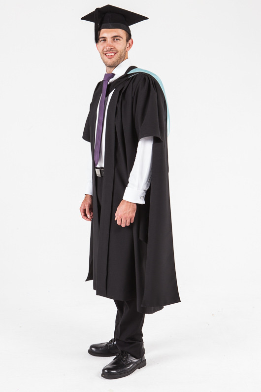 UON Masters Graduation Gown Set - Commerce and Economics - Front angle view