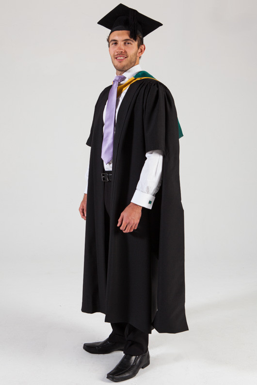 Macquarie University Masters Graduation Gown Set - Science and Engineering - Front angle view