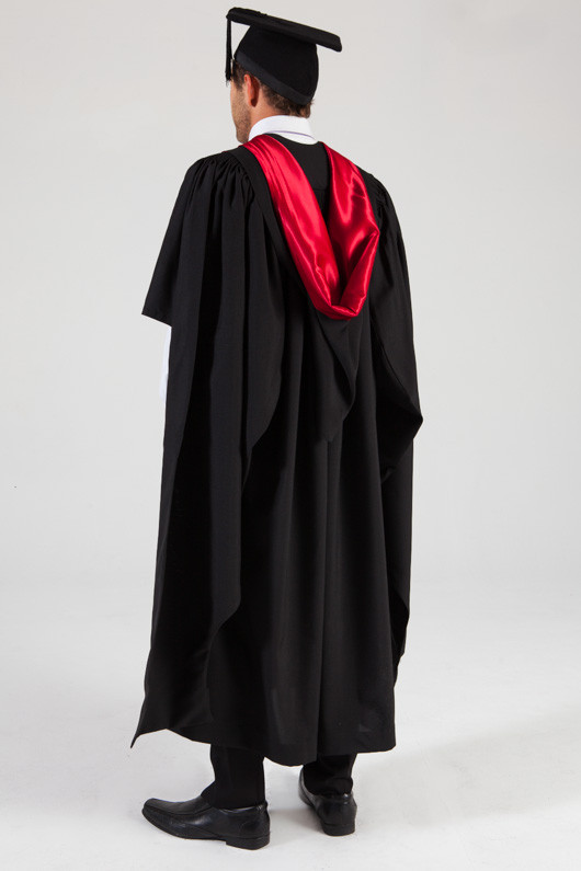 University of Melbourne Masters Graduation Gown Set - Medicine - Back angle view