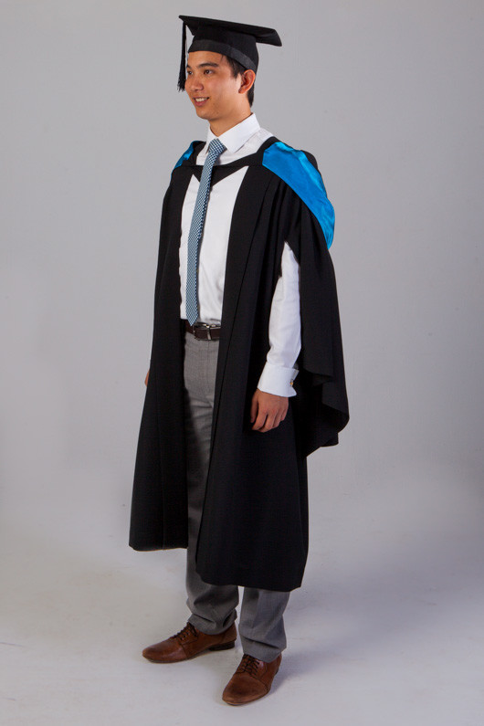 QUT Bachelor Graduation Gown Set - Science and Engineering - Front angle view