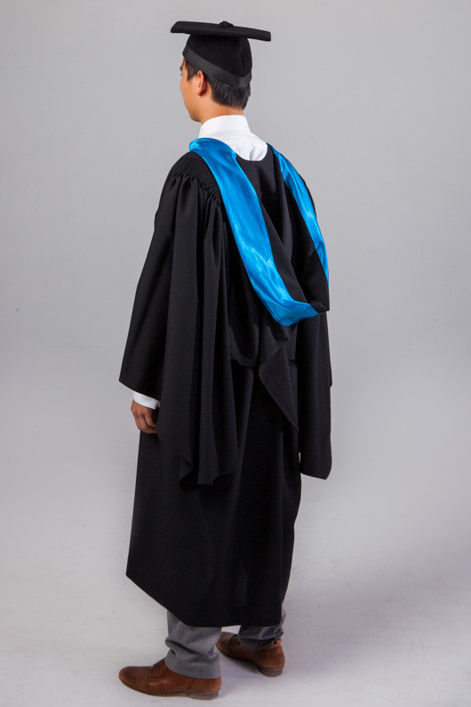 QUT Bachelor Graduation Gown Set - Science and Engineering - Back angle view
