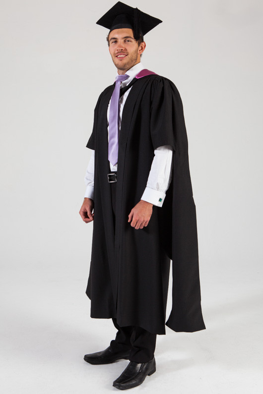 QUT Masters Graduation Gown Set - Creative Industries - Front angle view