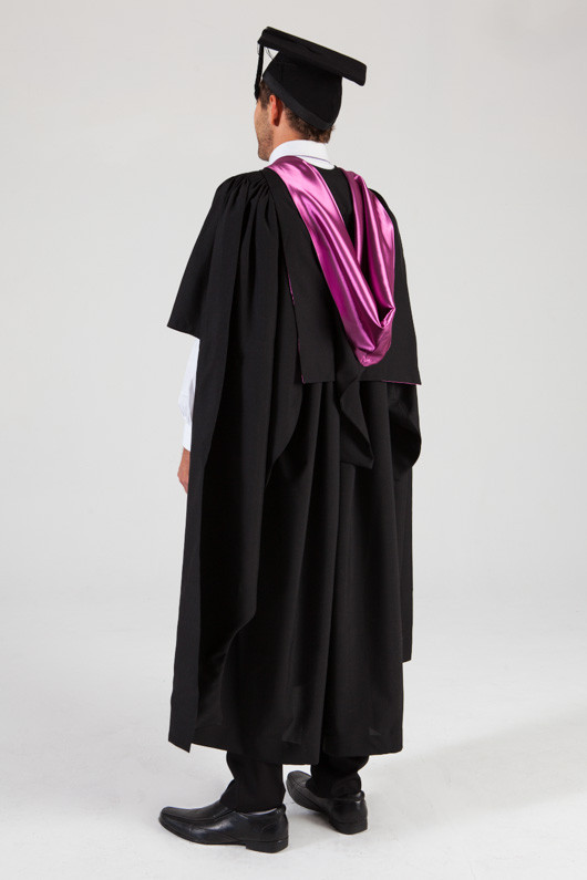 QUT Masters Graduation Gown Set - Creative Industries - Back angle view