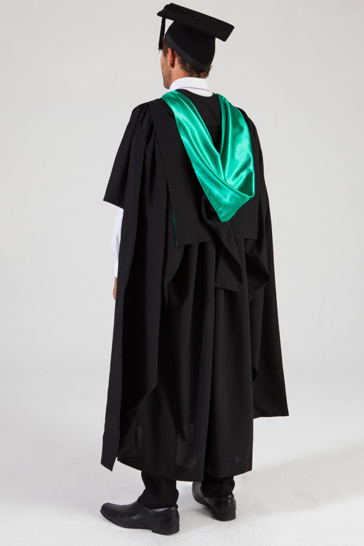 QUT Masters Graduation Gown Set - Education - Back angle view