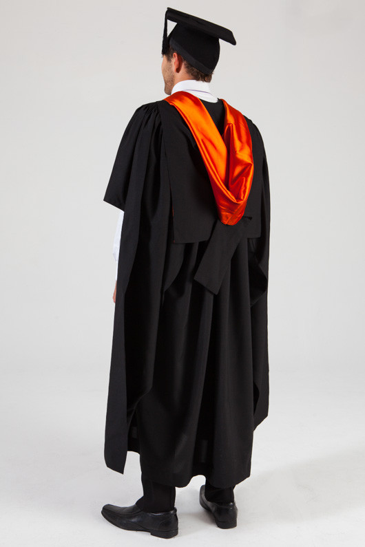 QUT Masters Graduation Gown Set - Health - Back angle view