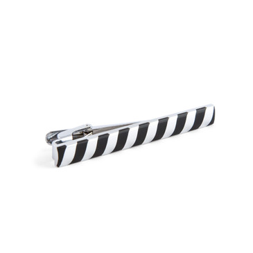 Striped Black Enamel Tie Bar - main view - University graduation gift