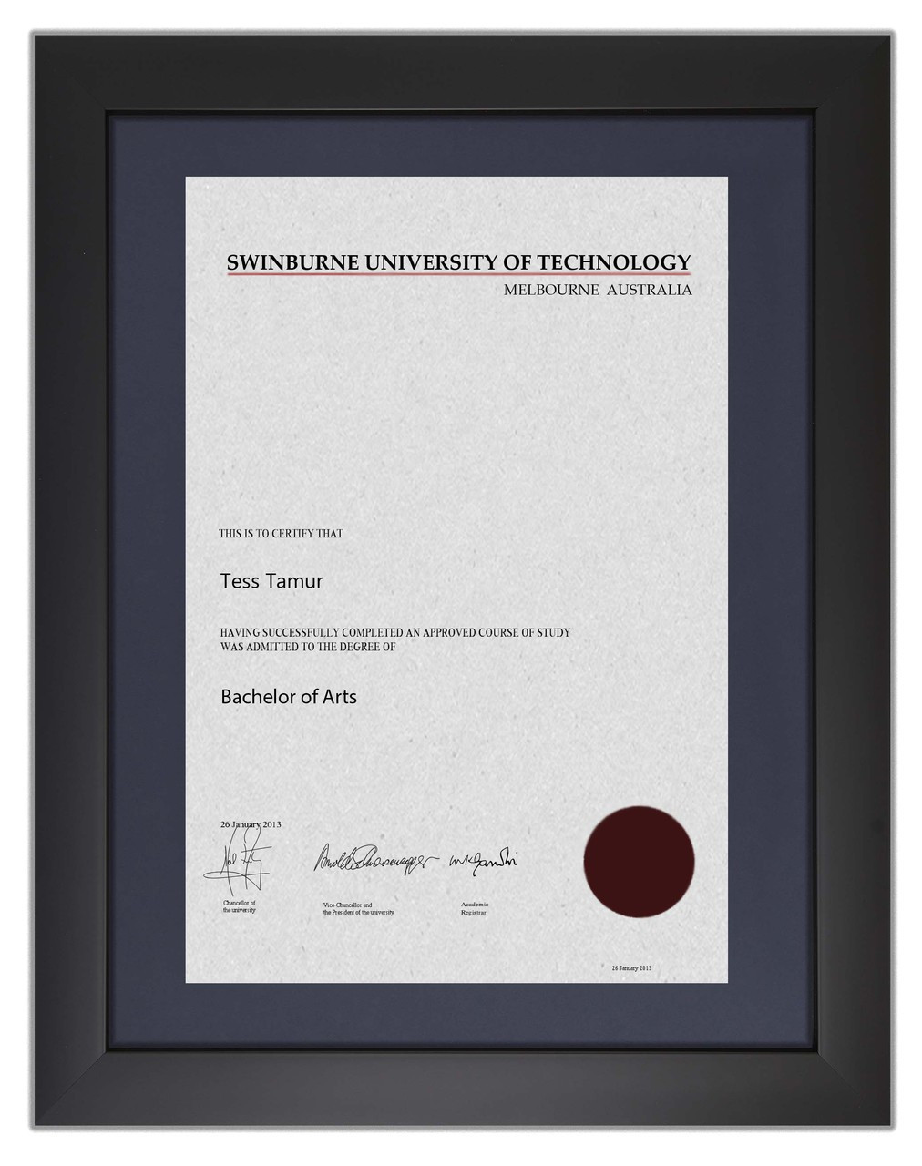 Degree Certificate Frame For Swinburne University Of Technology