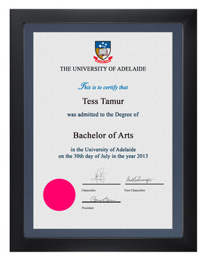 Degree Certificate Frame for University of Adelaide