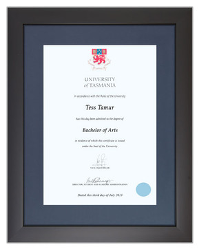 Degree Certificate Frame for University of Tasmania