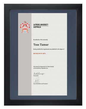 Degree Certificate Frame for La Trobe University