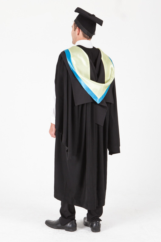 University of Sydney Bachelor Graduation Gown Set - Applied Science - Back angle view