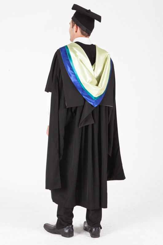 University of Sydney Masters Graduation Gown Set - Physiotherapy - Back angle view