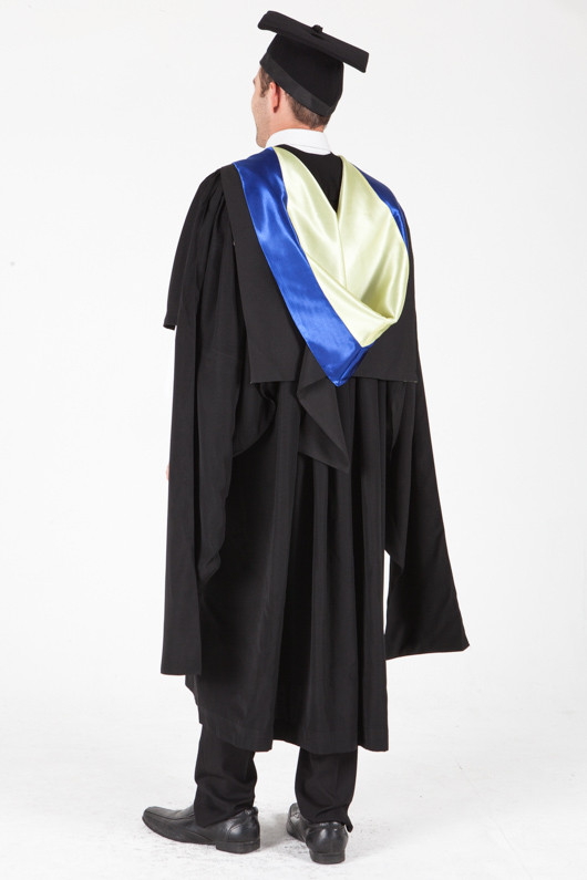 University of Sydney Masters Graduation Gown Set - Information Technology - Back angle view