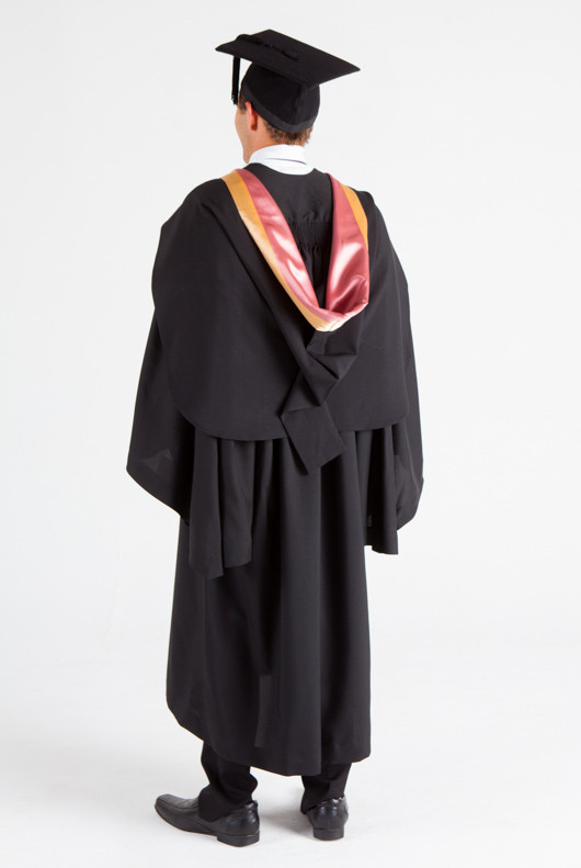 UNE Bachelor Graduation Gown Set - Social Science, Psychology and Criminology - Back angle view