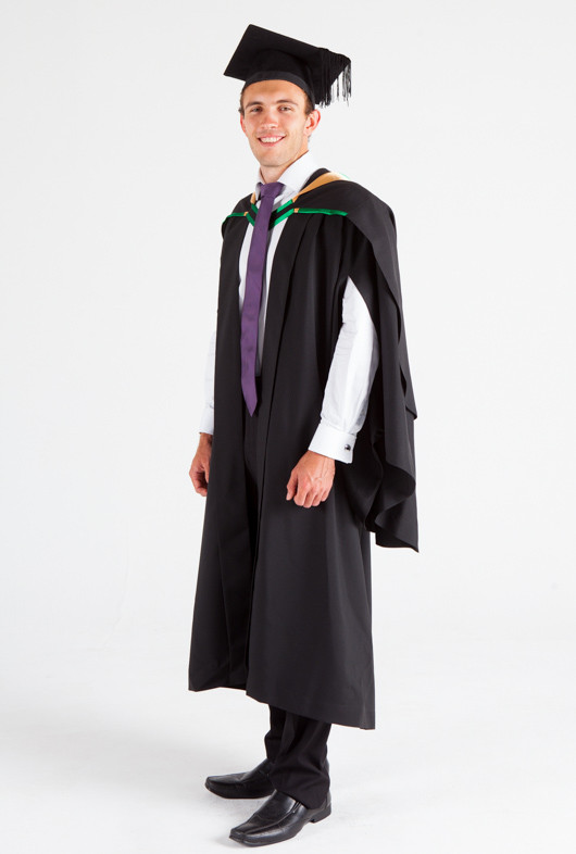 UNE Bachelor Graduation Gown Set - Music and Theatre - Front angle view