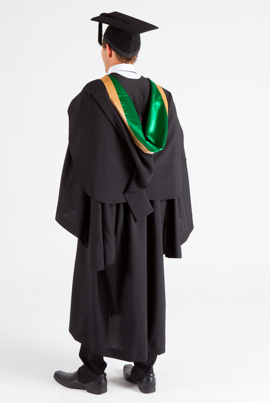 UNE Bachelor Graduation Gown Set - Music and Theatre - Back angle view