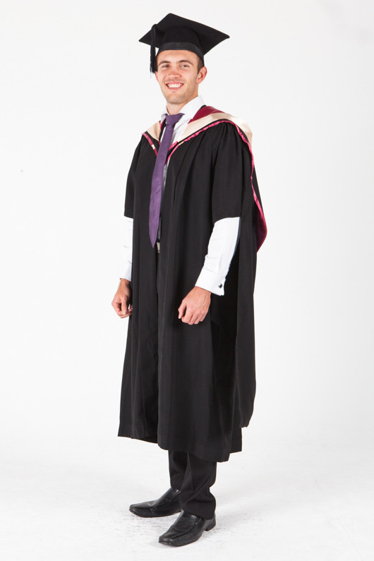 UNE Masters Graduation Gown Set - Health, Pharmacy - Front angle view
