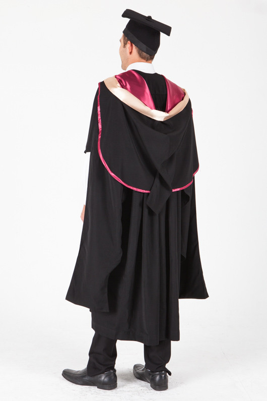 UNE Masters Graduation Gown Set - Health, Pharmacy - Back angle view