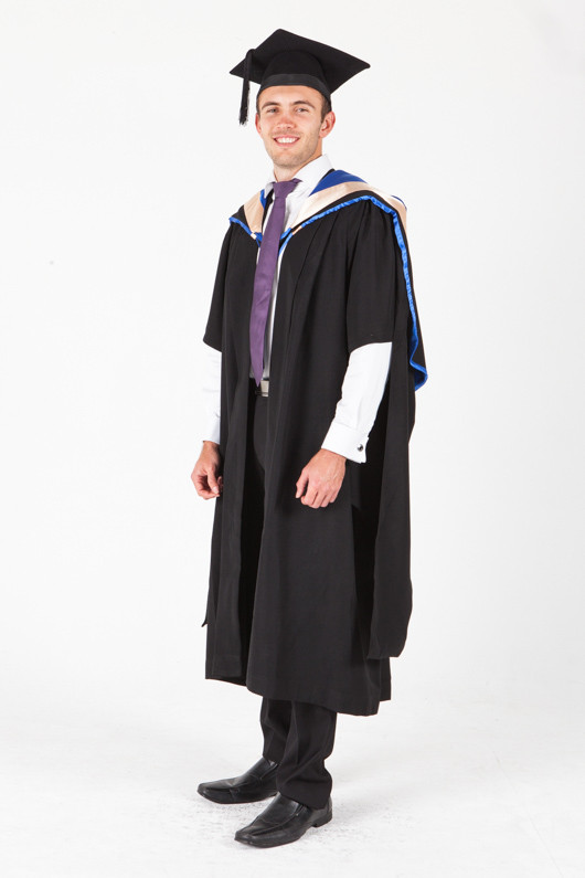 UNE Masters Graduation Gown Set - Law - Front angle view