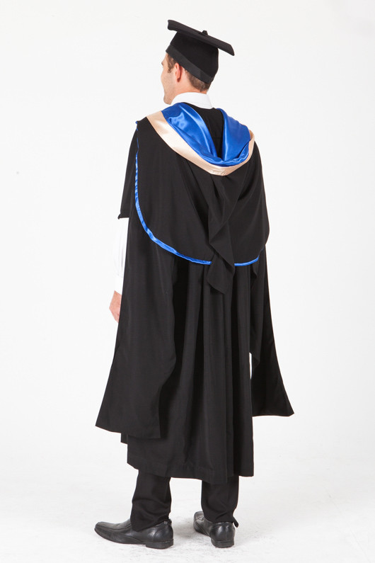 UNE Masters Graduation Gown Set - Law - Back angle view