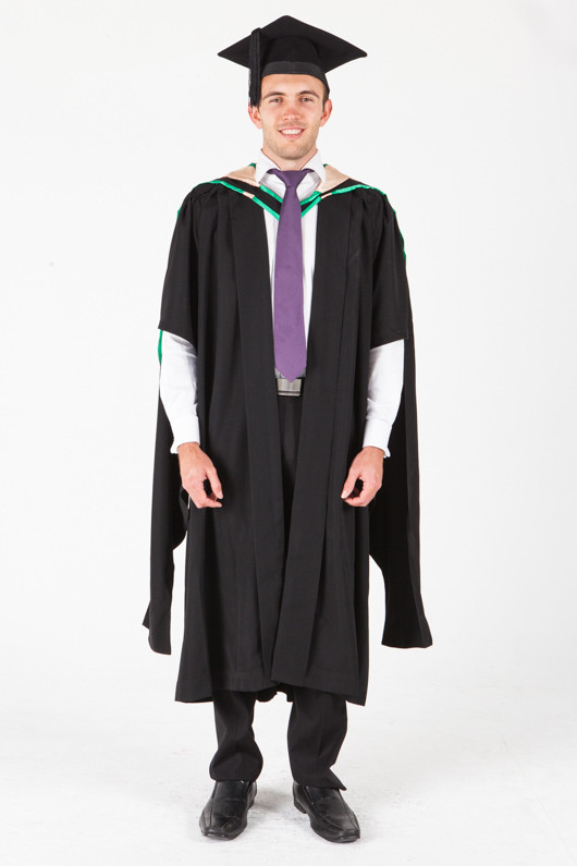 UNE Masters Graduation Gown Set - Music and Theatre - Front view