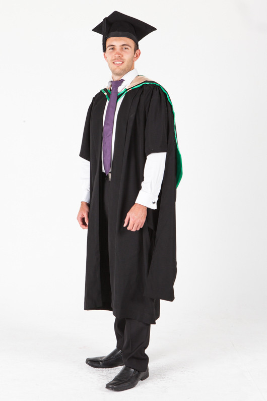 UNE Masters Graduation Gown Set - Music and Theatre - Front angle view