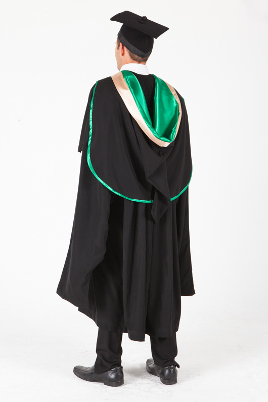 UNE Masters Graduation Gown Set - Music and Theatre - Back angle view