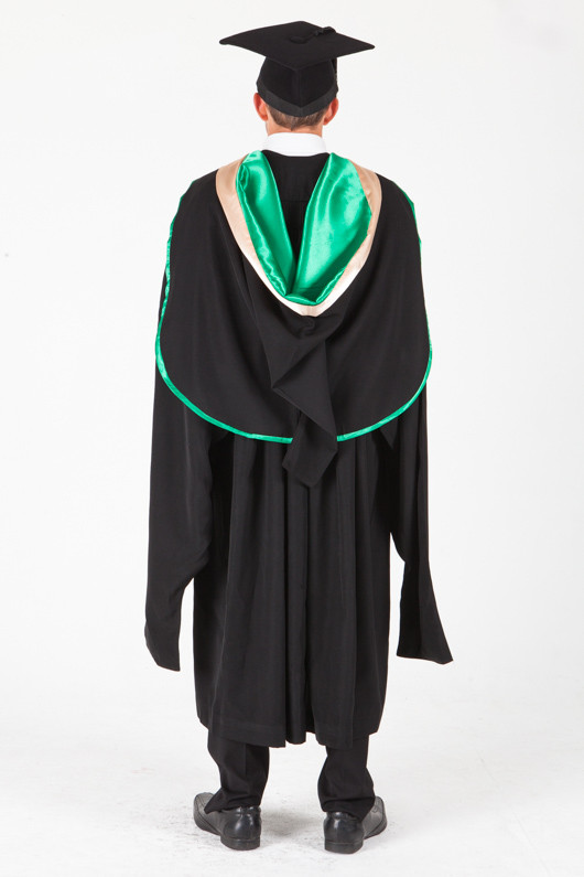 UNE Masters Graduation Gown Set - Music and Theatre - Back view