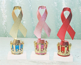 """8"""" Trophy.  Awarness Ribbon on crown.  Choice of colors"""