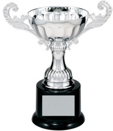 "7 3/8"" Silver Metal Cup trophy.  DISCONTINUED!"