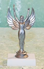 "CLEARANCE  6"" Antique finished Silver victory on base"