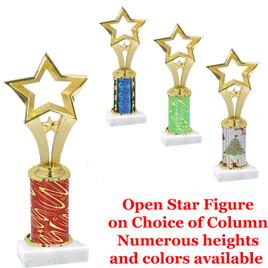 Star on choice of  column.  Numerous trophy heights and column choice available