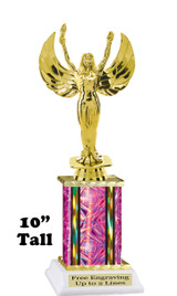 "Clearance - Discontinued Pink Rectangle 1 Column trophy.  10"" tall with victory"