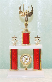 2 Column Trophy with insert - Available in multiple heights, column colors and choice of figure