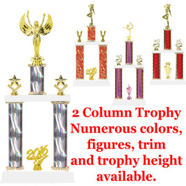 2 Column Trophy - Available in multiple heights, column colors and choice of figure.  Trophy height starts at 14 inches.