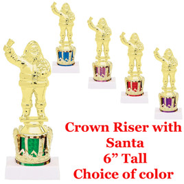 """Crown with Santa on Base  6"""" tall.  Choice of crown color."""