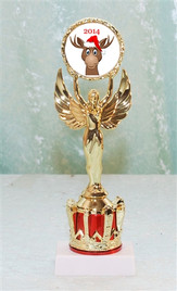"""9"""" tall Victory and Crown with Reindeer insert TR-Victory-rein3"""