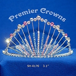 "Gorgeous 3"" crown with side combs. Pink and Light Blue Stones   SH-0170  (a26)"
