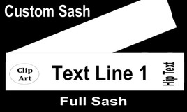 CUSTOM FULL SASH - 4 sizes available.  Single satin ribbon with clip art, 1 line of text and hip text
