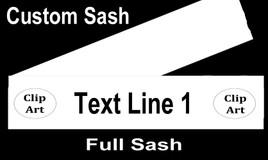 CUSTOM FULL SASH - 4 sizes available.  Single satin ribbon with clip art,  1 line main text and clip art