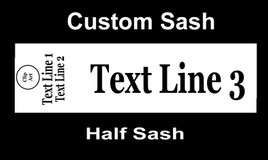 "CUSTOM  HALF SASH   36"" OR 42"" .  Single satin ribbon with Clip art, 2 lines of shoulder text and main text"