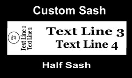 "CUSTOM  HALF SASH   36"" OR 42"" .  Single satin ribbon with Clip art, 2 lines of shoulder text and 2 lines of main text"