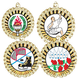"2"" Bright Gold Medal with choice of insert.  Includes free back of medal engraving and neck ribbon"