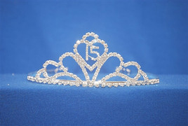 "Beautiful Quinceanera crown with side combs. 2"" tall  (004)"