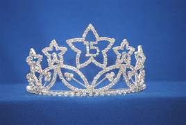 "Beautiful Quinceanera crown with side combs. 2.9"" tall  (002)"