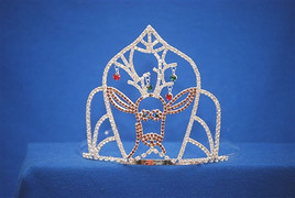 "Adorable 5"" Reindeer crown with dangling ornaments. Side Combs"