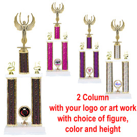 Custom 2 Column Trophy.  Upload your logo or art work!  Choice of trophy height, column color and figure. Trophy height starts at 24 inches