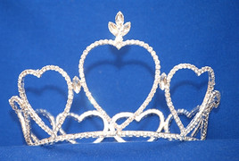 "Beautiful full round heart crown. 4"" tall in front, tapers down to 2"" in back. Diameter is 5.5""   CR-0316-4"